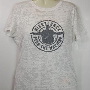 Nickelback womens burnout white tshirt sz XXL